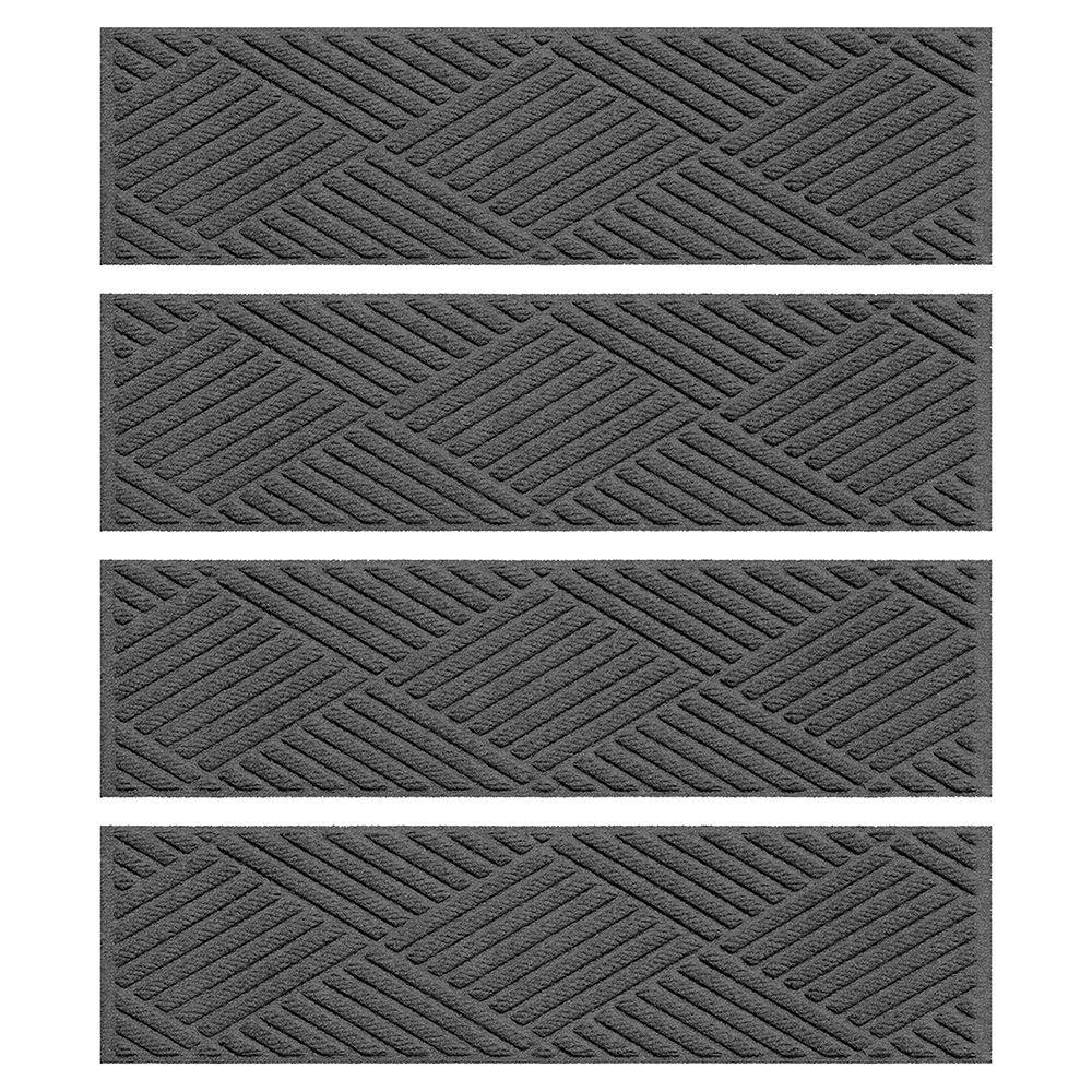Aqua Shield Charcoal 85 In X 30 In Diamonds Stair Tread Set Of Intended For Stair Tread Rug Sets (#3 of 20)