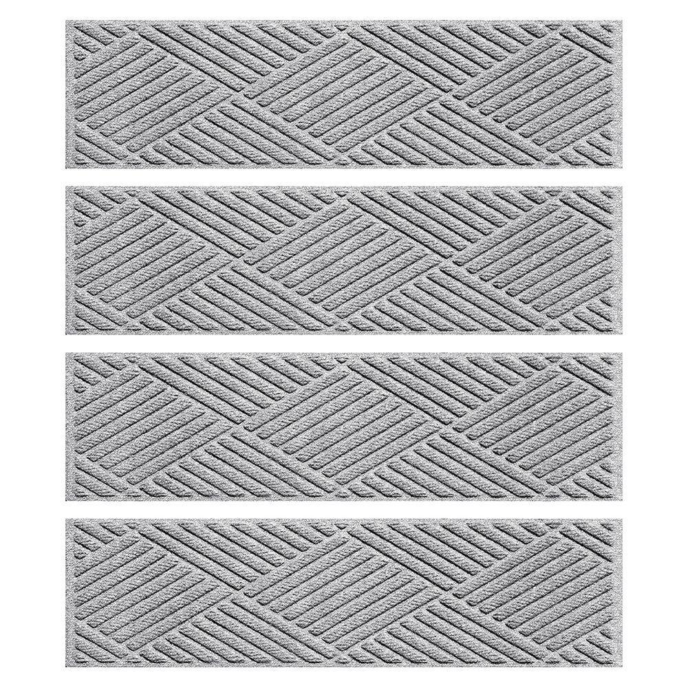 Aqua Shield Medium Gray 85 In X 30 In Diamonds Stair Tread Set With Regard To Stair Tread Rugs Outdoor (#2 of 20)