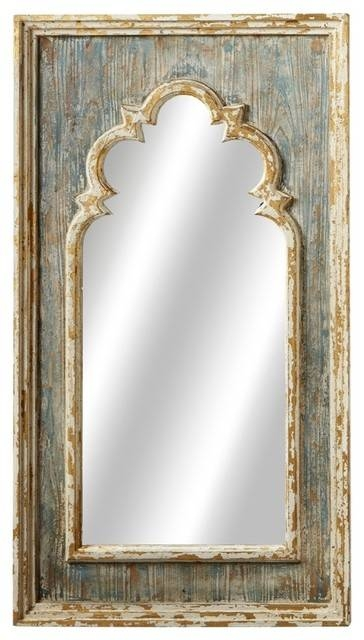 Arch Wall Mirror With Gold Brush, Distressed Blue – Farmhouse In Gold Arch Mirrors (#4 of 20)