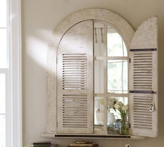 Arched Door Mirror | Pottery Barn Pertaining To Window Shutter Mirrors (#6 of 30)
