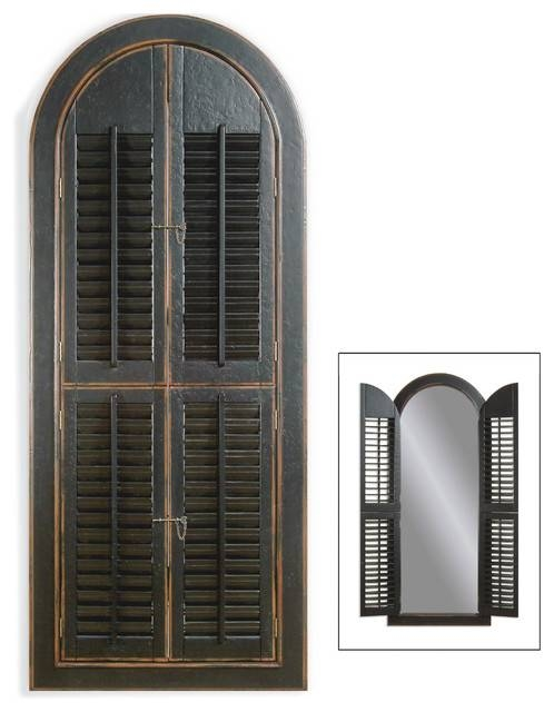 Arched Shutter Mirror – Traditional – Wall Mirrors  Bassett Intended For Window Shutter Mirrors (#7 of 30)