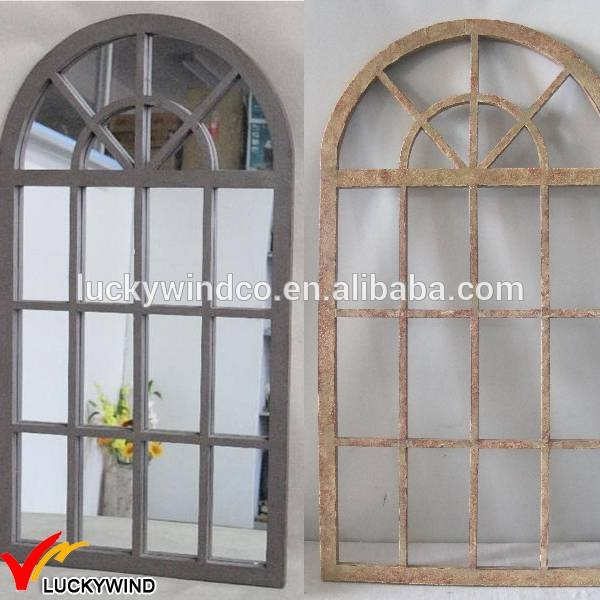 Arched Wood Shabby Chic Antique Window Mirror – Buy Antique Window Within Shabby Chic Window Mirrors (View 15 of 20)