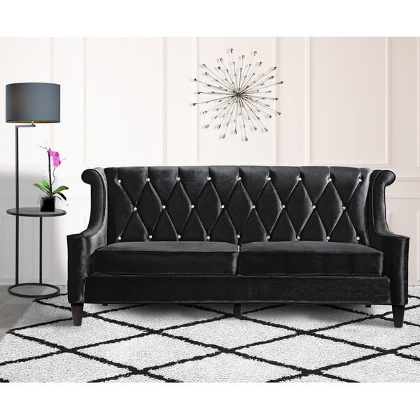 Armen Living Barrister Modern Black Velvet Sofa With Crystal Regarding Black Velvet Sofas (#3 of 15)