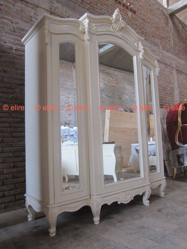 Armoire: Stunning White Armoire With Mirror Ideas Target Wardrobe With Large White Rococo Mirrors (#10 of 30)