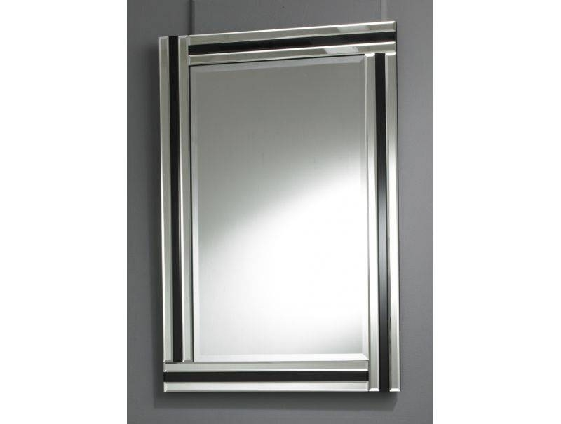Art Deco Mirror With Clear And Black Bevelled Glass Triple Border Throughout Black Bevelled Mirrors (#4 of 20)
