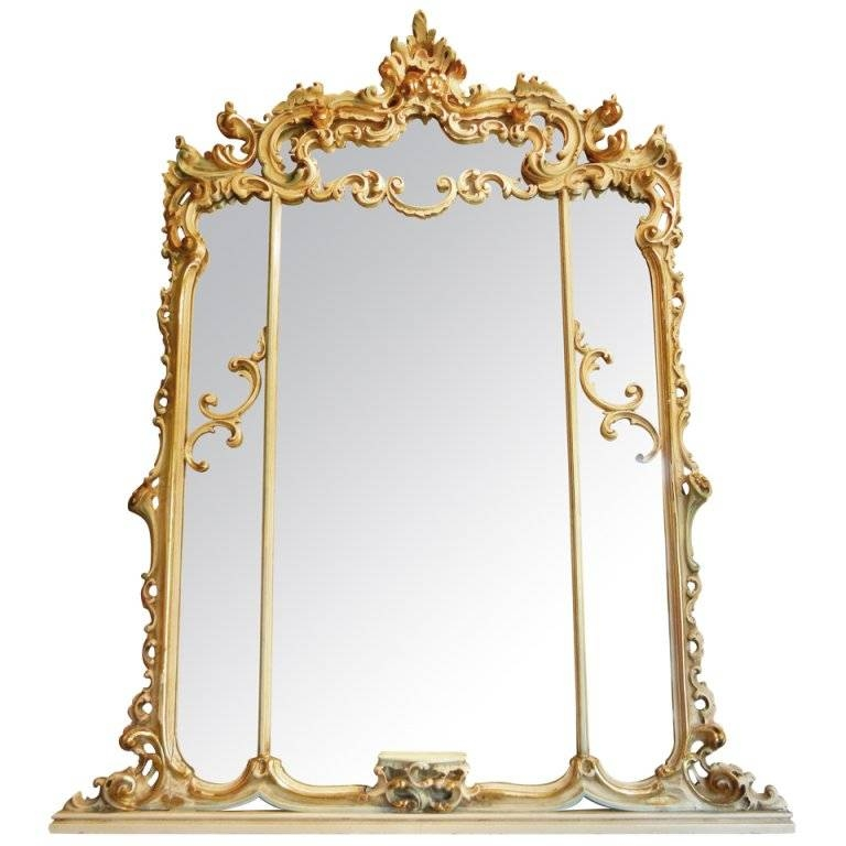 Art Deco Period Baroque Style Large Mantel Mirror In Painted Gesso Pertaining To Baroque Style Mirrors (#7 of 20)