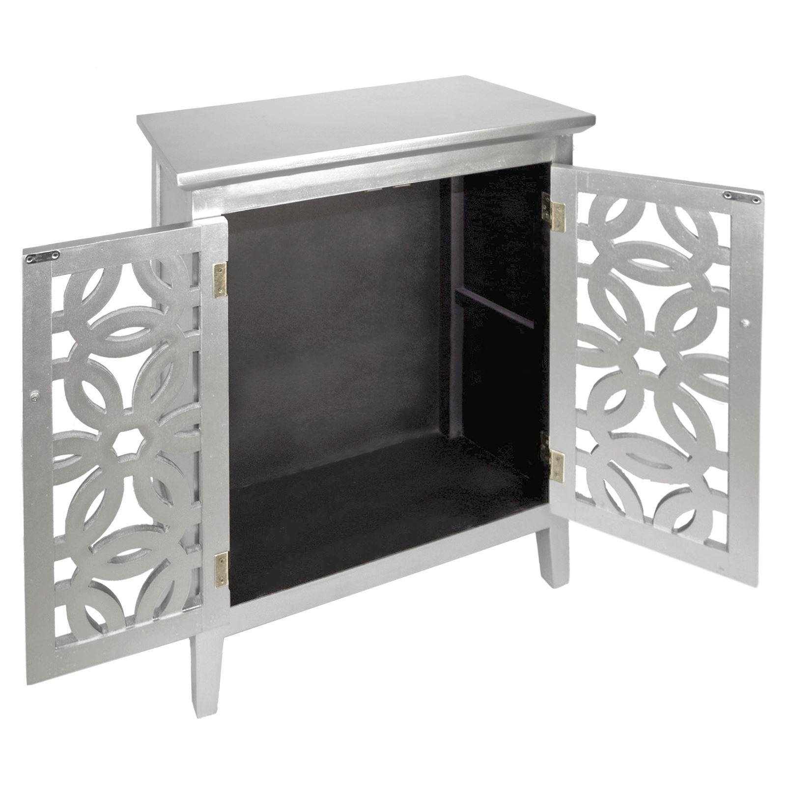 Art Deco Style Mirrored Drinks Cabinet Storage Unit Mirror Fronted Inside Black And Silver Sideboard (#3 of 20)