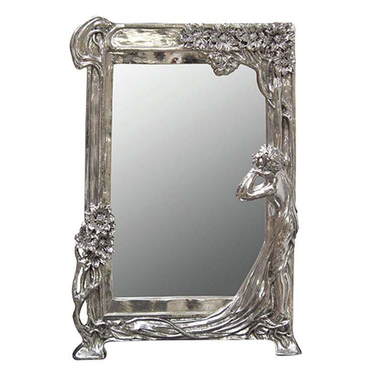 Art Nouveau Style Silver Mirror 27X 40Cm Art Nouveau Style Silver Throughout Silver Dressing Table Mirrors (#3 of 20)