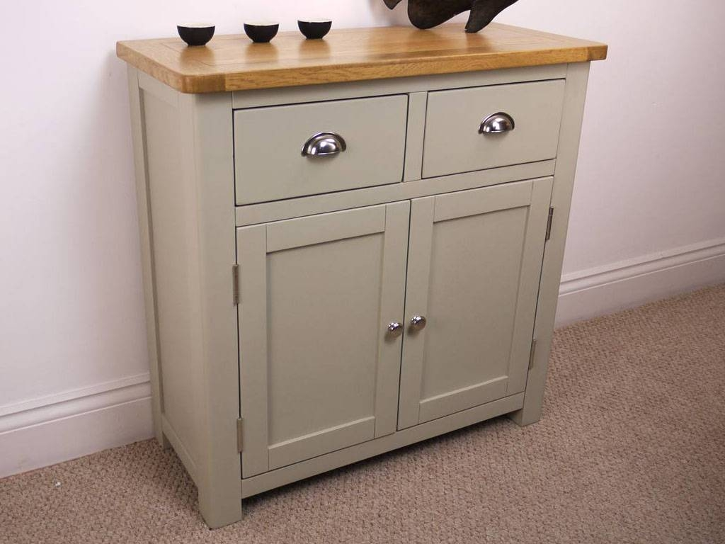 Aspen Painted Oak Sideboard / Solid Small 2 Door 2 Drawer Cupboard With Regard To Small Sideboards (#1 of 20)