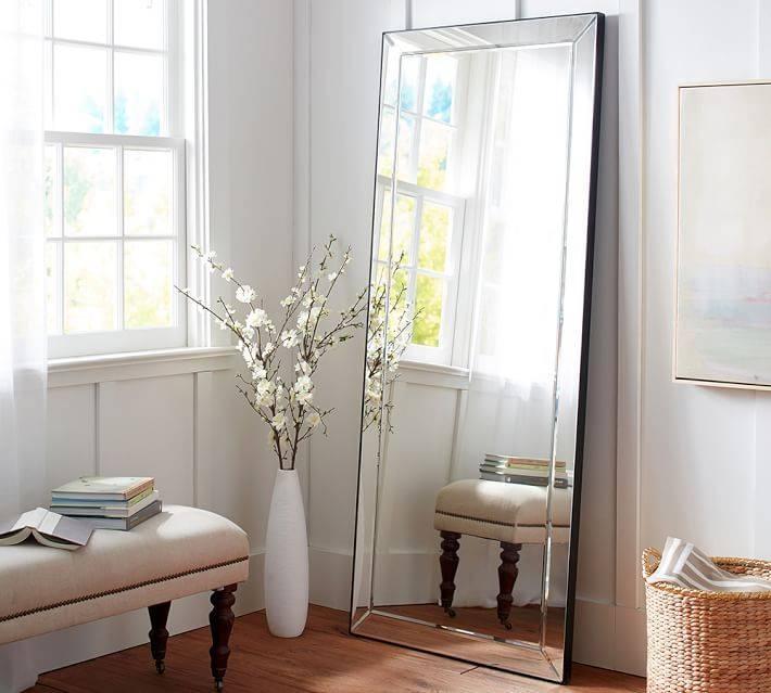 Astor Floor Standing Mirror | Pottery Barn Regarding Black Floor Standing Mirrors (#3 of 30)