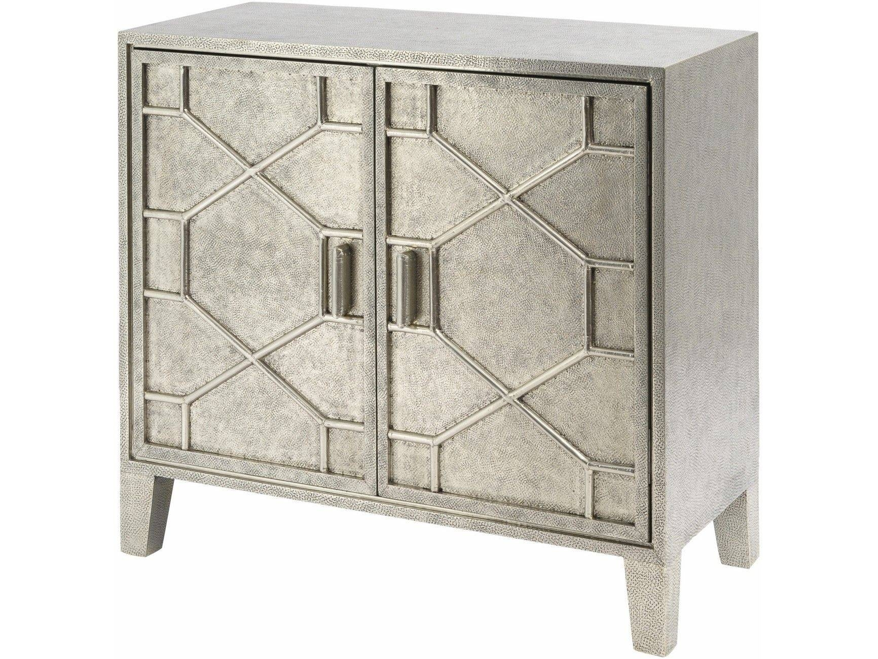 Astor Hand Embossed Metal 2 Door Cabinet | Metal Embossed Sideboards Inside Metal Sideboards Furniture (#2 of 20)