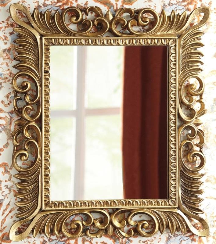 Astoria Grand Rectangle Antique Gold Wall Mirror & Reviews | Wayfair For Gold Wall Mirrors (View 25 of 30)