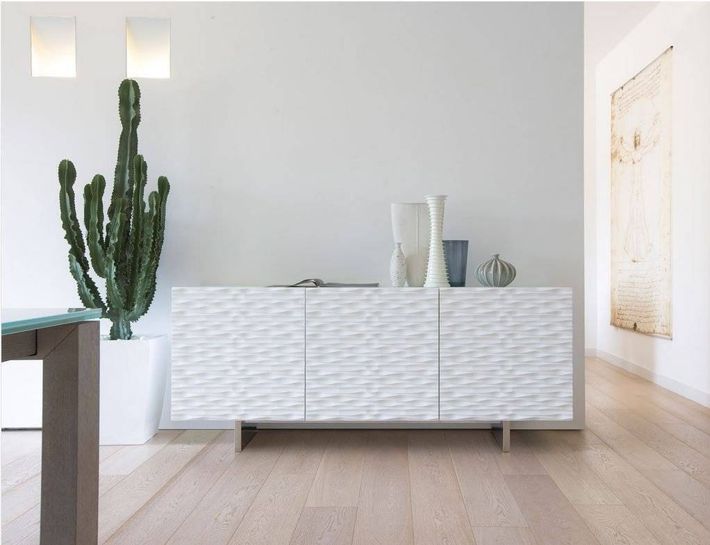 Aura180 Sideboard With 3 Matt Lacquered Wooden Doors (multiple Within White Glass Sideboard (View 16 of 20)