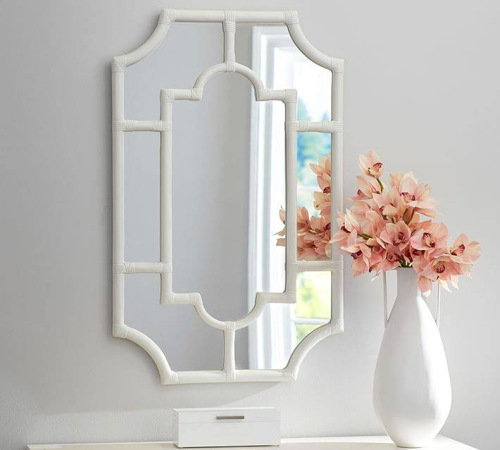 Avery White Bamboo Mirror | Pottery Barn Throughout White Decorative Mirrors (#4 of 20)