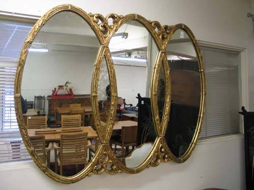 Awesome Triple Oval Mirror Gold Frame | Triple Oval Mirrors With Regard To Triple Wall Mirrors (#7 of 30)