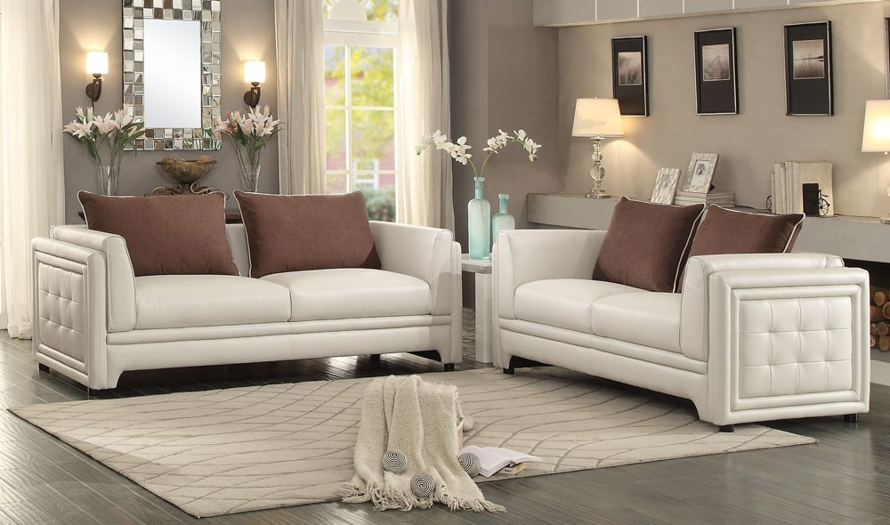 Azure Contemporary Leather Sofa With Off White Leather Sofa And Loveseat (#3 of 15)