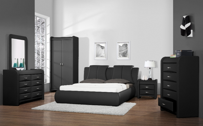 Azure Faux Leather 8 Drawer Chest Dresser – Black With Or Without With Black Faux Leather Mirrors (#3 of 20)
