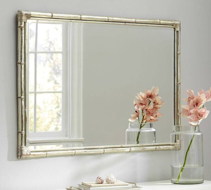 Bamboo Silver Gilt Wall Mirror   Pottery Barn With Regard To Long Silver Wall Mirrors (#4 of 15)