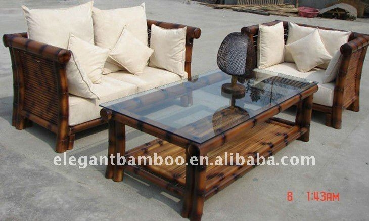 Bamboo Sofa Sets With Antique Charcoal Smoke Color Buy Wooden For Bambo Sofas (View 2 of 15)