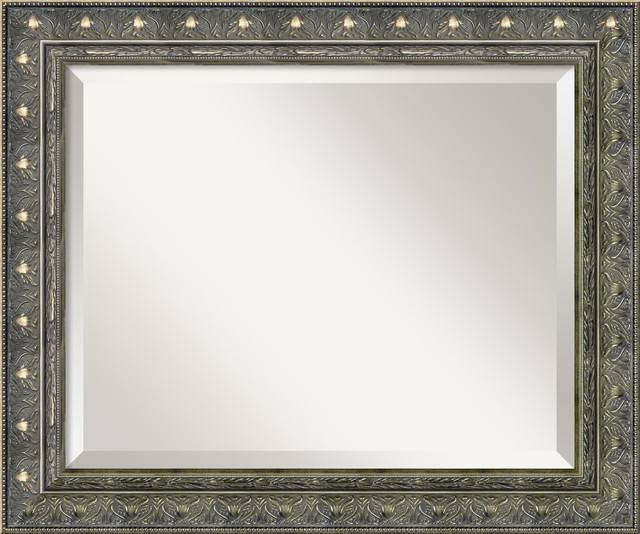 Barcelona Pewter Wall Mirror – Wall Mirrors  Amanti Art Throughout Pewter Ornate Mirrors (View 9 of 30)