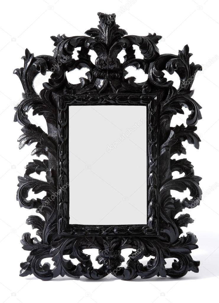 Baroque Black Painted Carved Wood Mirror Frame — Stock Photo Pertaining To Black Baroque Mirrors (View 11 of 20)