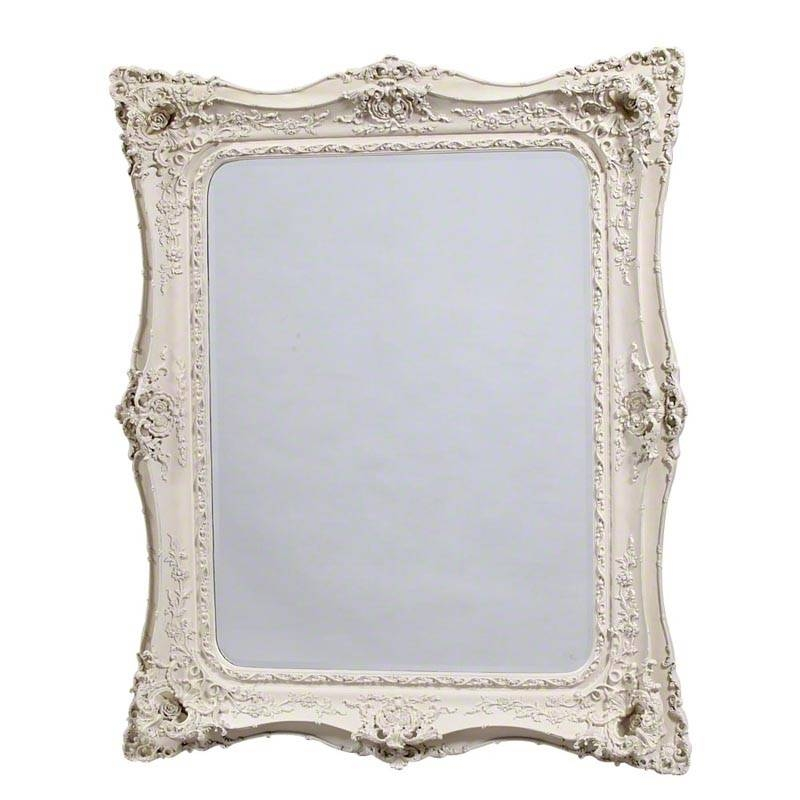 Baroque Large Antique White Rectangular French Mirror Regarding French White Mirrors (#7 of 15)