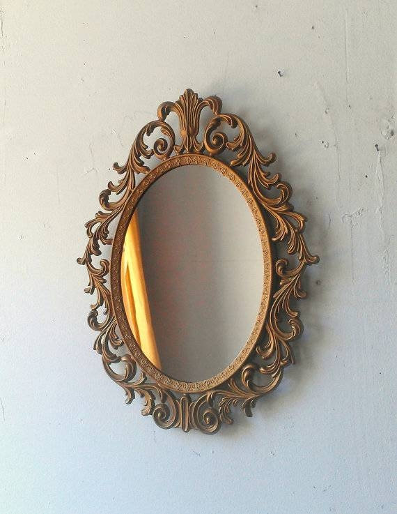 Baroque Mirror In Deep Gold Vintage Oval Frame Vintage Ornate Pertaining To Gold Baroque Mirrors (#15 of 30)