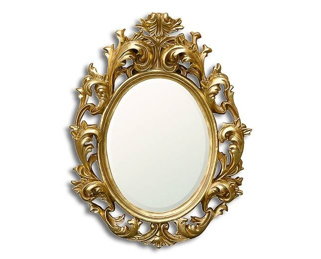 Baroque Oval In Gold – Circular Mirrors & Oval Mirrors – Mirrors For Baroque Gold Mirrors (#14 of 20)