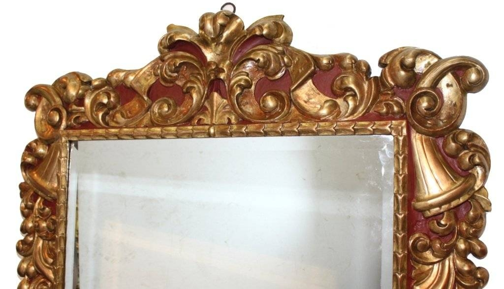 Baroque Style Polychrome And Gilt Carved Wood Mirror For Sale At For Gold Baroque Mirrors (#16 of 30)