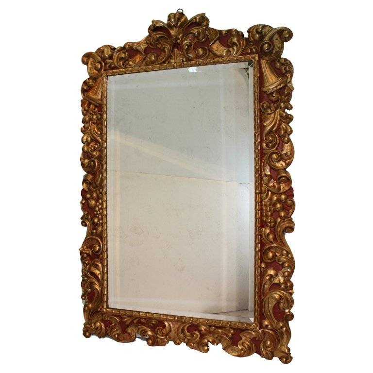 Baroque Style Polychrome And Gilt Carved Wood Mirror For Sale At Intended For Baroque Style Mirrors (#8 of 20)