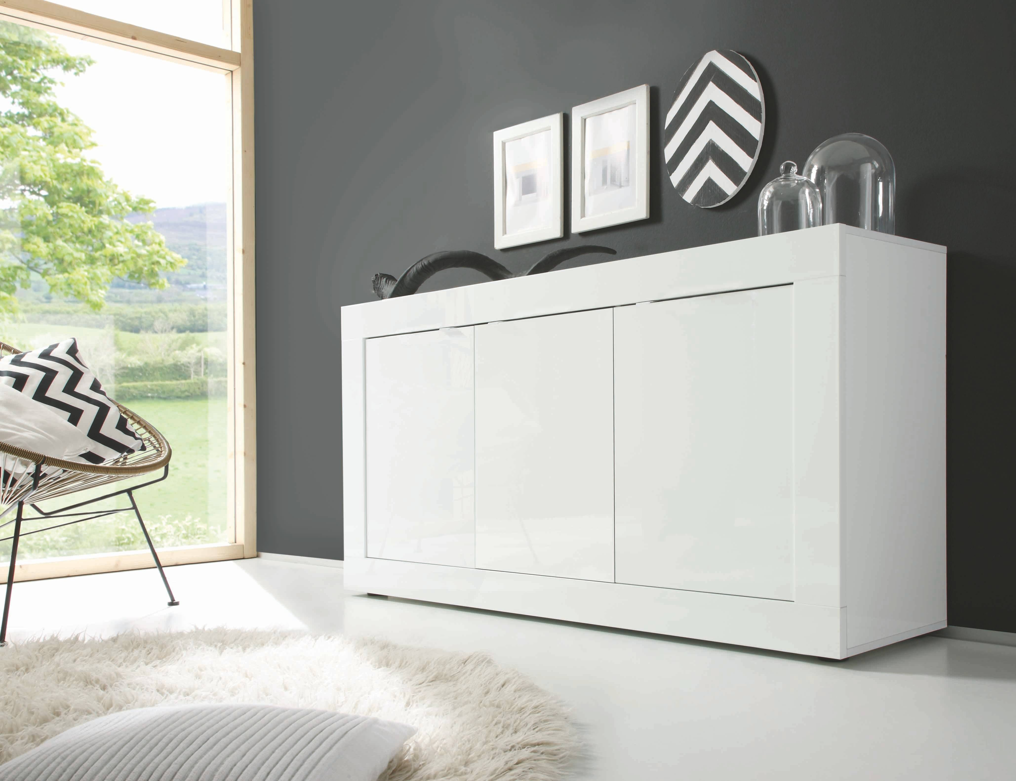 Basic 3 Door Sideboard, All White Buy Online At Best Price – Sohomod Pertaining To Sideboard White (#3 of 20)