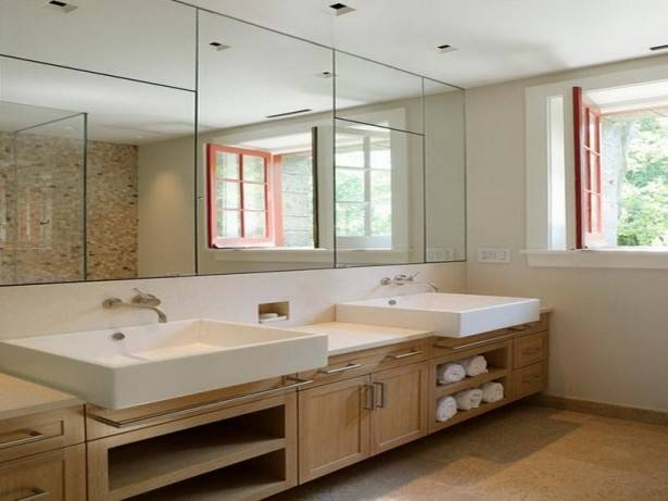 Bathroom Ideas: Frameless Bathroom Wall Mirrors With Above Wall Regarding Large Frameless Bathroom Mirrors (#4 of 30)