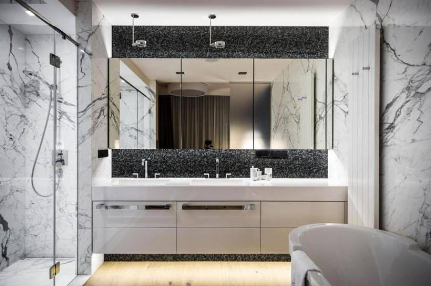 Bathroom Ideas: Frameless Large Bathroom Mirror With Mosaic Regarding Large Frameless Wall Mirrors (View 19 of 20)