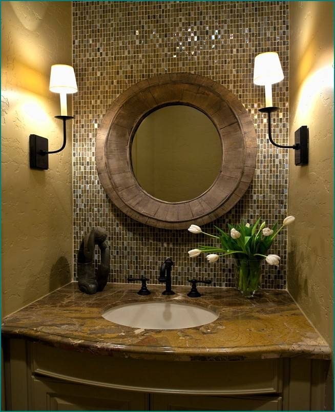 Bathroom Ideas: Oil Rubbed Bronze Oval Bathroom Mirrors On Mosaic Throughout Bronze Mosaic Mirrors (#15 of 30)