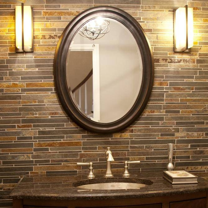 Bathroom Ideas: White Framed Cheap Oval Bathroom Mirrors Above Inside Oval Cream Mirrors (#12 of 30)