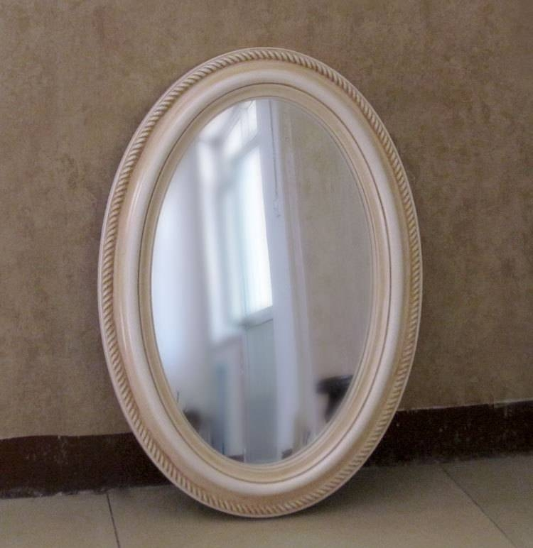 Bathroom Ideas: White Framed Cheap Oval Bathroom Mirrors Above Regarding Oval Cream Mirrors (#13 of 30)