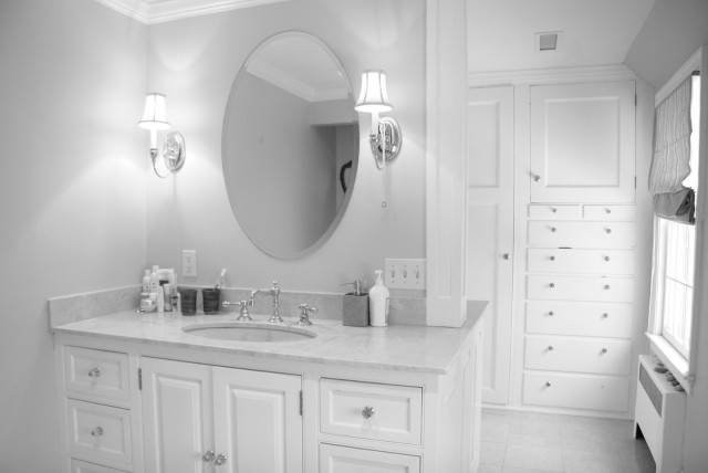 Bathroom Ideas: White Framed Cheap Oval Bathroom Mirrors Above Regarding White Oval Bathroom Mirrors (#5 of 20)