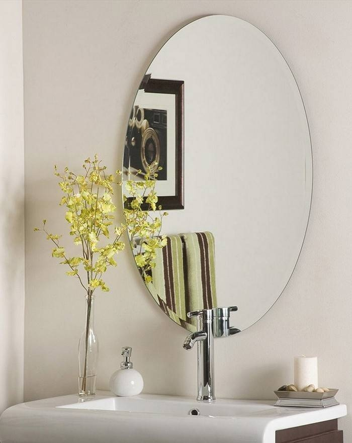 Bathroom Ideas: White Framed Cheap Oval Bathroom Mirrors Above Throughout White Oval Bathroom Mirrors (#6 of 20)