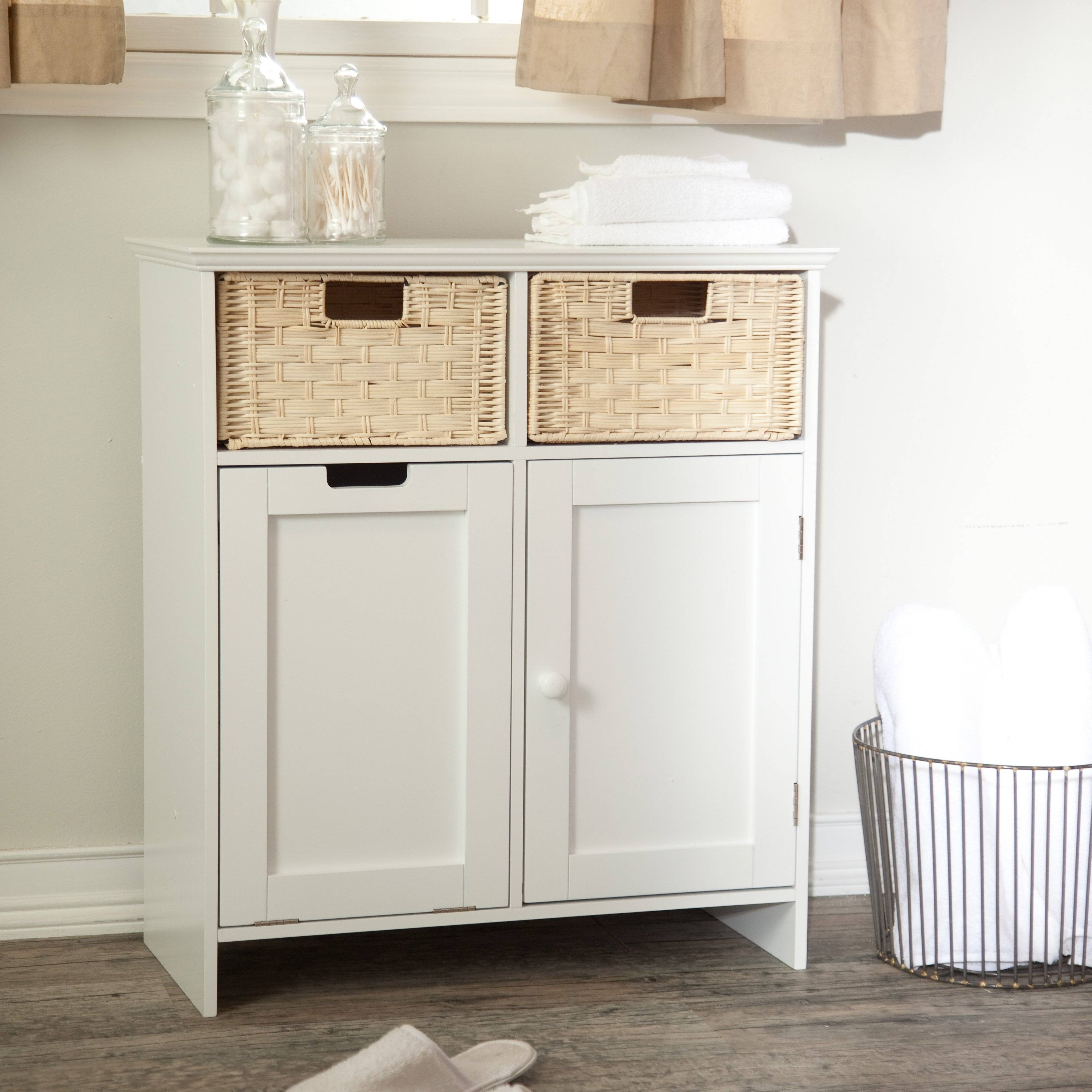 Bathroom: Interesting Corner Hamper For Inspiring Clothes Storage In Small White Sideboard (#2 of 20)