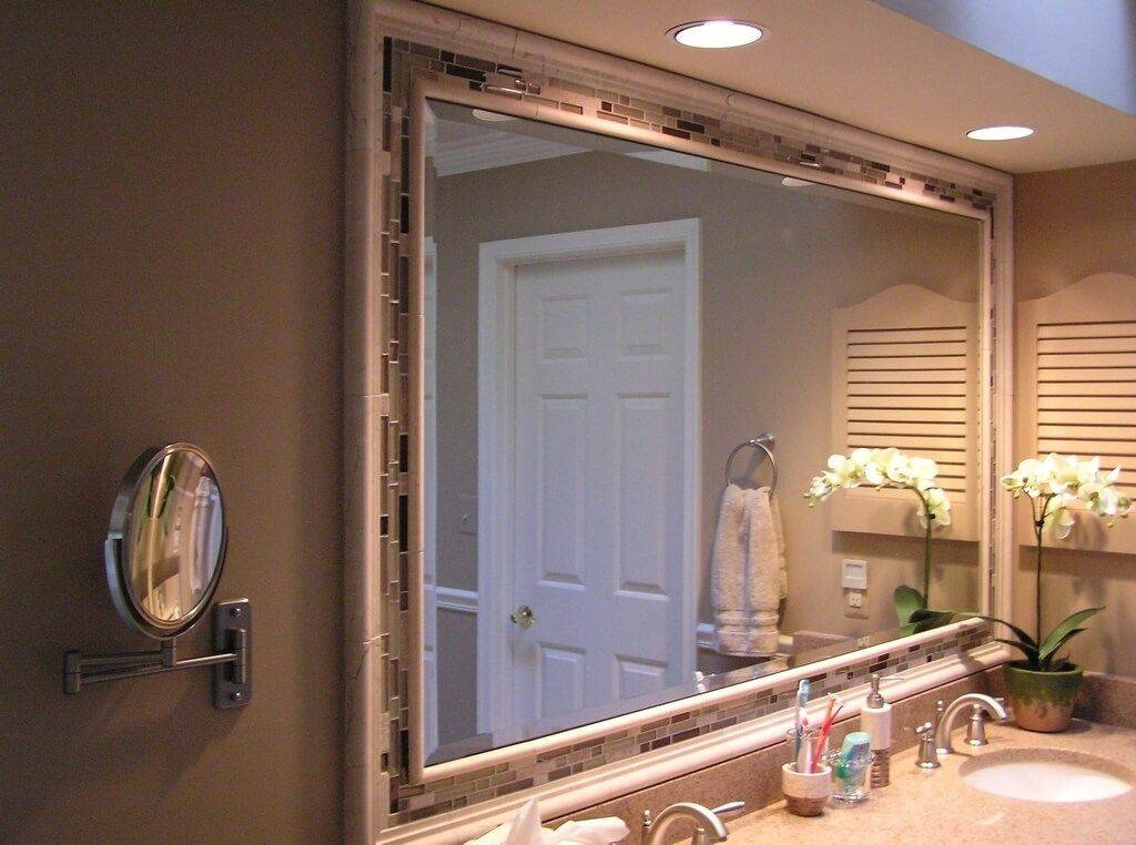 Bathroom: Large Bathroom Mirror For Your Next Redesign Plans Pertaining To Large Frameless Bathroom Mirrors (#9 of 30)