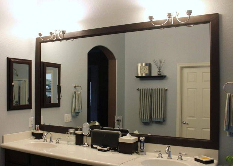 Bathroom Mirror Ideas Diy Wall Brushed Nickel Sconces Rectangle Intended For Black Leather Framed Mirrors (#8 of 30)