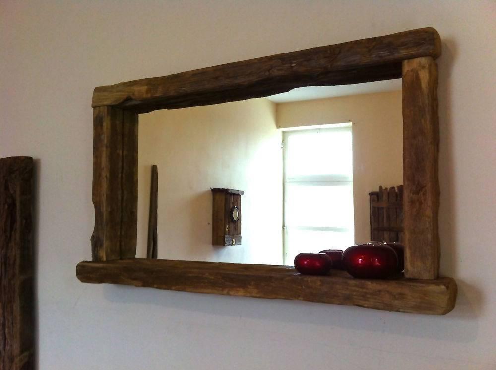 Bathroom Mirror With Shelf Hib Delby Bathroom Mirror With Shelf Inside Large Oak Framed Mirrors (#4 of 20)