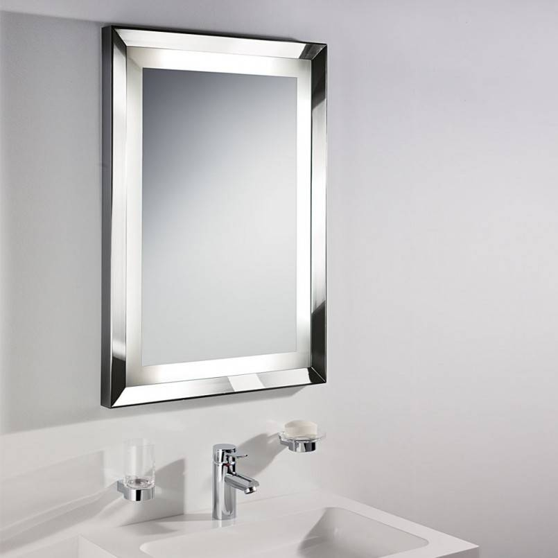 Bathroom: Mirrors For Bathrooms Ideas Hung On Cream Wall With Oval Within White Metal Mirrors (#8 of 20)