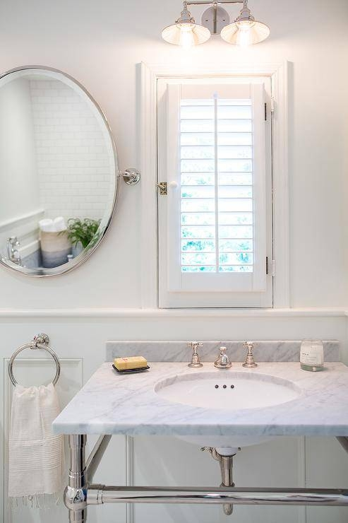 Bathroom Window Dressed In Plantation Shutters Over Vanity Intended For Window Shutter Mirrors (#8 of 30)