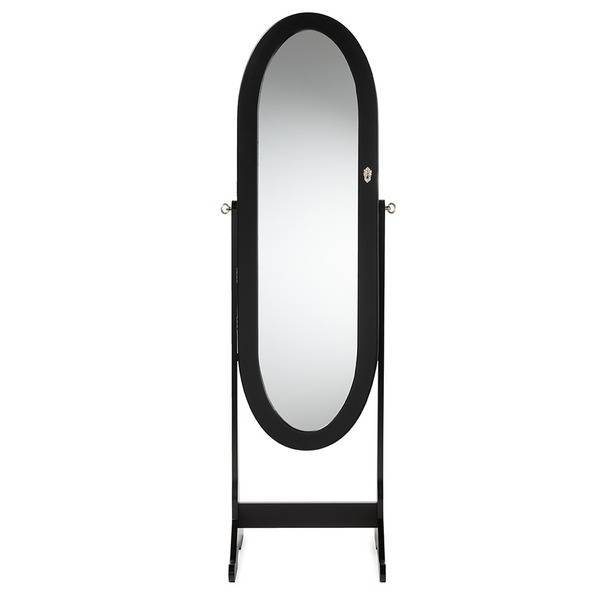 Baxton Studio Apache Black Finished Wood Oval Shaped Free Standing Pertaining To Free Standing Black Mirrors (#5 of 30)