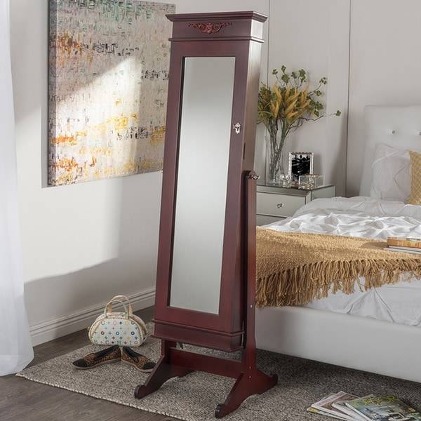 Baxton Studio Bimini Brown Finished Free Standing Full Length Inside Cheval Free Standing Mirrors (#8 of 30)