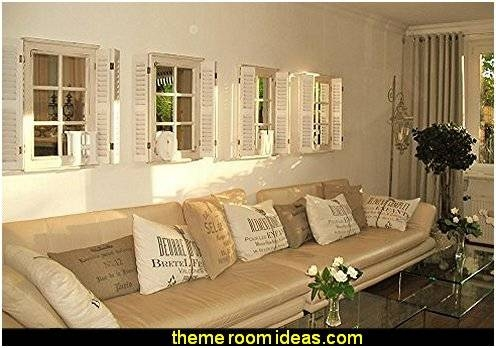 Beach Cottage Seaside Theme Bedroom Decorating Ideas – Girls In Window Shutter Mirrors (#9 of 30)