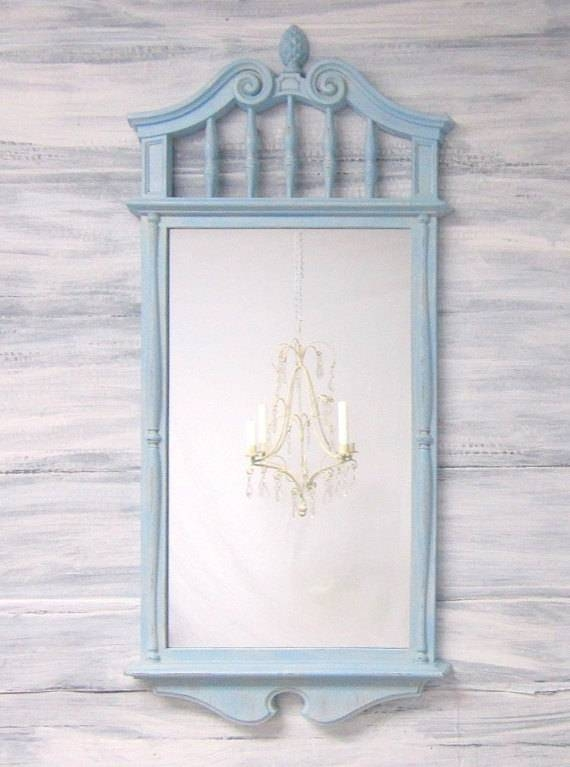 Beach House Decor Blue Distressed Framed Mirror Beach Themed Inside Distressed Framed Mirrors (#10 of 30)