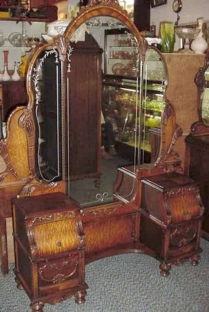 Beautiful Complete Carved Depression Bedroom Set Intended For Antique Triple Mirrors (#10 of 20)