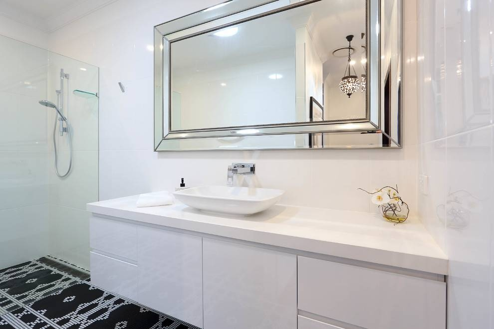 Beautiful Frameless Mirrorin Bathroom Modern With Elegant Kitchen Intended For Frameless Large Wall Mirrors (#4 of 20)